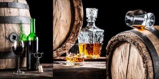 Collage de los alcoholes almacenados en barriles en el sótano Imágenes de archivo libres de regalías