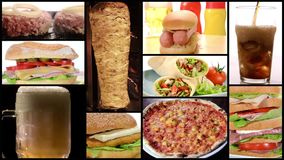 Collage de los alimentos de preparación rápida almacen de metraje de vídeo