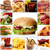 Collage de los alimentos de preparación rápida con el cheeseburger en el centro Foto de archivo