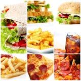 Collage de los alimentos de preparación rápida Imagenes de archivo