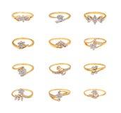 Collage de los anillos de diamante Fotos de archivo libres de regalías