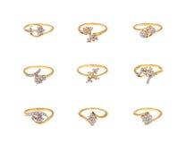 Collage de los anillos de diamante Imagen de archivo libre de regalías
