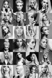 Collage de los blondes de la belleza Caras de mujeres foto de archivo