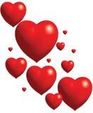 Collage de los corazones rojos del globo imagenes de archivo