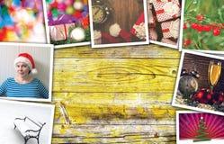 Collage de los días de fiesta de la Navidad y del Año Nuevo Fotos de archivo