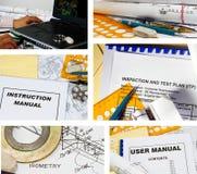 Collage de los documentos de la ingeniería foto de archivo