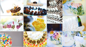 Collage de los dulces de la boda Fotos de archivo