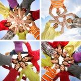 Collage de los estudiantes jovenes que cuelgan hacia fuera el togerher Imagen de archivo libre de regalías