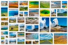 Collage de los géiseres de Yellowstone Fotografía de archivo