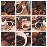 Collage de los granos de café y de las trufas de chocolate en taza Fotos de archivo libres de regalías
