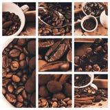 Collage de los granos de café y de la trufa de chocolate Foto de archivo libre de regalías