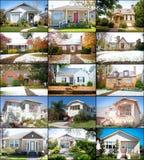Collage de los hogares de la cabaña Imagenes de archivo