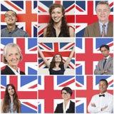 Collage de los hombres de negocios que se oponen a bandera británica Foto de archivo libre de regalías