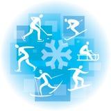 Collage de los iconos del deporte de invierno Foto de archivo