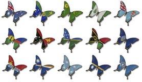 Collage de los indicadores de Oceanía en mariposas stock de ilustración
