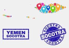 Collage de los indicadores del mapa del mapa del archipiélago del Socotra y de los sellos rasguñados del sello stock de ilustración