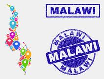 Collage de los indicadores del mapa del mapa de Malawi y de los sellos rasguñados del sello ilustración del vector