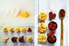 Collage de los ingredientes para cocinar las pastas Cierre para arriba foto de archivo