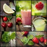 Collage de los jugos de fruta foto de archivo