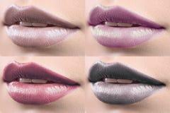 Collage de los labios femeninos cubiertos en lápiz labial Imagen de archivo libre de regalías
