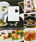 Collage de los mariscos Concepto de la receta Foto de archivo