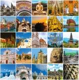 Collage de los monumentos del mundo Imagen de archivo