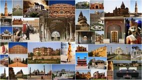 COLLAGE DE LOS MONUMENTOS EN LA INDIA Imagen de archivo libre de regalías