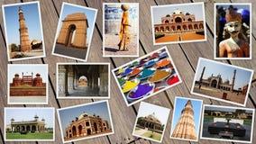 COLLAGE DE LOS MONUMENTOS EN LA INDIA Imagen de archivo
