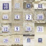 Collage de los números de casa fotos de archivo