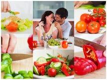 Collage de los pares que comen la ensalada sana Fotos de archivo