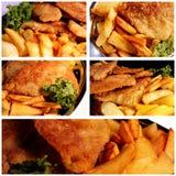 Collage de los pescado frito con patatas fritas Foto de archivo libre de regalías