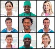 Collage de los retratos de los doctores que sonríen en la cámara imagen de archivo libre de regalías