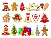 Collage de los símbolos festivos de la Navidad Imagenes de archivo