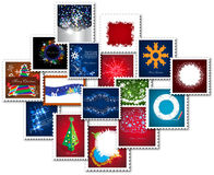 Collage de los sellos por Año Nuevo Ilustración del Vector