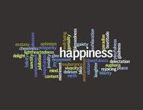 Collage de los sinónimos para la felicidad Fotografía de archivo libre de regalías