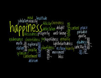 Collage de los sinónimos para la felicidad Imágenes de archivo libres de regalías