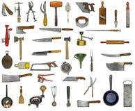 Collage de los utensilios de la cocina del vintage Imágenes de archivo libres de regalías