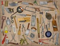 Collage de los utensilios de la cocina del vintage Fotografía de archivo