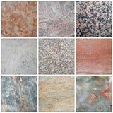 Collage de mármol de la imagen con diversas texturas Imagen de archivo libre de regalías