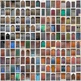 Collage de madera de las puertas del vintage típico Fotografía de archivo