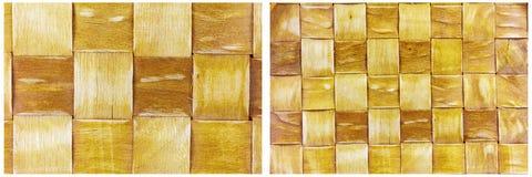 Collage de madera tejido bambú del fondo de la pared Fotografía de archivo