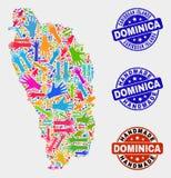 Collage de main de Dominica Island Map et des phoques faits main rayés illustration libre de droits