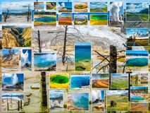 Collage de Mammoth Hot Springs Photographie stock