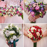 Collage de mariage avec la fin du bouquet de la jeune mariée  image stock