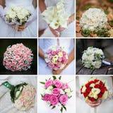 Collage de mariage avec la fin du bouquet de la jeune mariée  images libres de droits