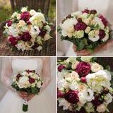 Collage de mariage avec la fin du bouquet de la jeune mariée  photo stock