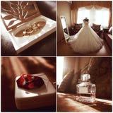 Collage de mariage, les quatre photos Photographie stock libre de droits