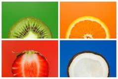 Collage de medias frutas imagenes de archivo