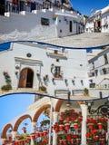 Collage de Mijas avec des pots de fleur dans les façades Village blanc andalou Costa del Sol Photographie stock