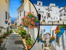 Collage de Mijas avec des pots de fleur dans les façades Village blanc andalou Costa del Sol Photo libre de droits
